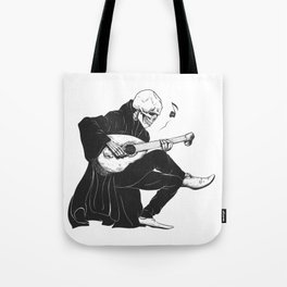 Minstrel playing guitar,grim reaper musician cartoon,gothic skull,medieval skeleton,death poet illus Tote Bag