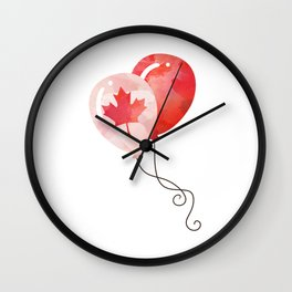 Canada Lover Canada Balloon Canadian People Maple Leaf Heart graphic Wall Clock