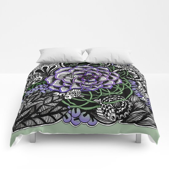 Fishes on a Coral Reef Greens - Zentangle Illustration Comforters