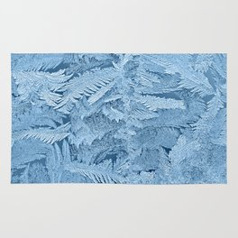 Frost pattern on glass in winter Rug