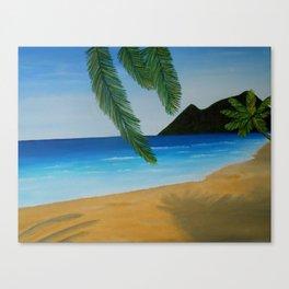 """Beach Day, 14"""" x 18"""" (35 x 45 cm), Oil on Canvas Canvas Print"""