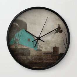 Rustic Teal Barn Country Art A158 Wall Clock