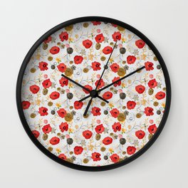 Jacque print smaller floral on gray Wall Clock