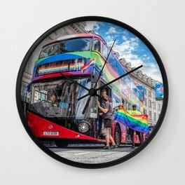 Rainbow Bus Pride In London Wall Clock
