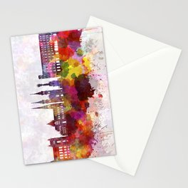 Linz skyline in watercolor background Stationery Cards
