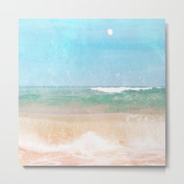 Sea and Moon Metal Print