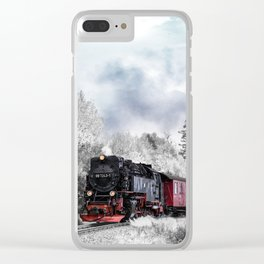 Train Riding through a Winter Landscape Clear iPhone Case