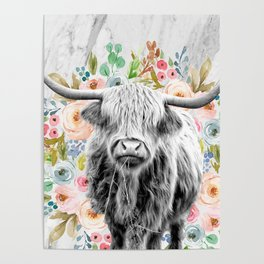 Highland Cow With Flowers on Marble Black and White Poster