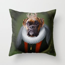 Queen Charlie - Boxer Dog Portrait Throw Pillow