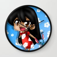 lilo and stitch Wall Clocks featuring Lilo and Stitch (chibi) by HaruShadows