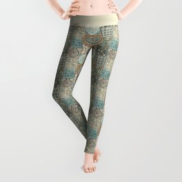 Vintage Old Antique Traditional Moroccan Small Tiles Pattern  Leggings