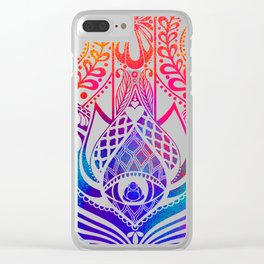 Hamsa Splatter Clear iPhone Case