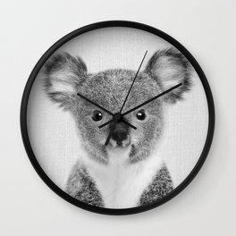 Baby Koala - Black & White Wall Clock