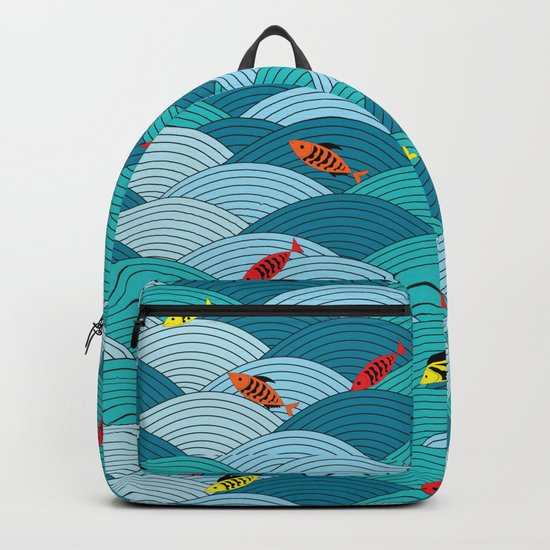 wave and fish Backpack