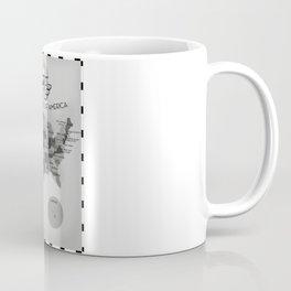 Black and White USA map Coffee Mug