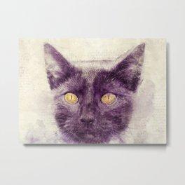 Black kitty art Metal Print