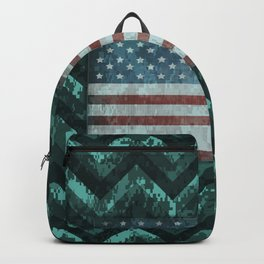 Turquoise Blue Digital Camo Chevrons with American Flag Backpack