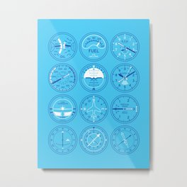 Aircraft Flight Instruments - Full Sky Metal Print