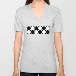 Black and White Circle Pattern Unisex V-Neck