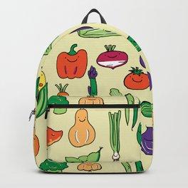 Cute Smiling Happy Veggies on beige background Backpack