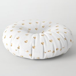 Small gold hearts pattern on white Floor Pillow