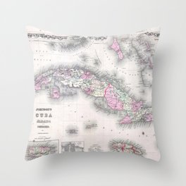 Vintage Map of Cuba (1861) Throw Pillow