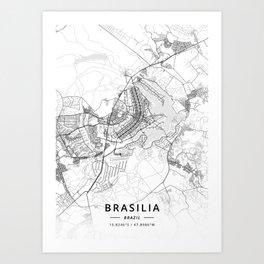 Brasilia, Brazil - Light Map Art Print