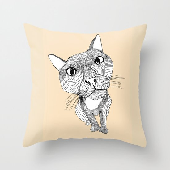 BigHead Cat Throw Pillow