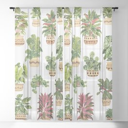 Potted Plants Collection 2 Sheer Curtain
