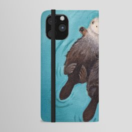 Otterly Romantic - Otters Holding Hands iPhone Wallet Case