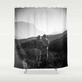 """Love on the Horizon"" Holga black and white double exposure Shower Curtain"