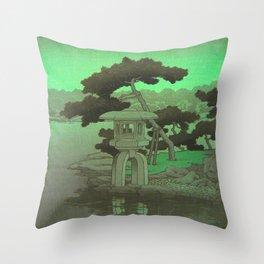Kawase Hasui Vintage Japanese Woodblock Print Glowing Green Neon Sky Over A Zen Garden Shrine Throw Pillow