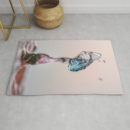 Red and Blue Water drop collision Rug