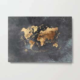 world map 147 gold black #worldmap #map Metal Print