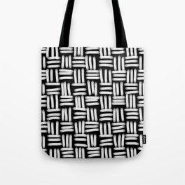 Black and White Basketweave Strokes Tote Bag