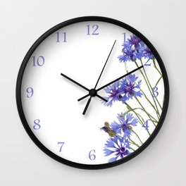 Slant blue cornflower flowers Wall Clock