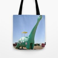 dino Tote Bags featuring dino by Natalie Jeffcott