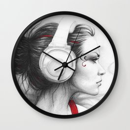 MUSIC Girl in Headphones Wall Clock