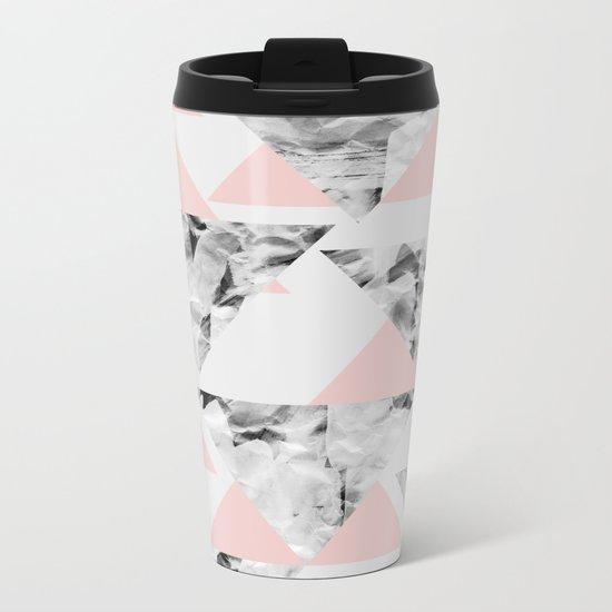Pink Triangles Metal Travel Mug