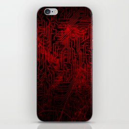 Red Cybernetic Circuit Board Crackle Grunge Texture iPhone Skin