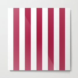 French wine fuchsia -  solid color - white vertical lines pattern Metal Print