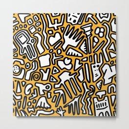 black doodle on orange Metal Print