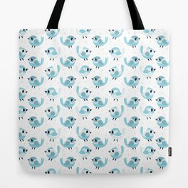 Happy Blue Birds Pattern Tote Bag