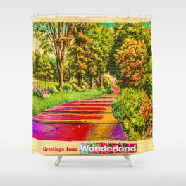 Greetings From Wonderland Shower Curtain