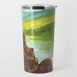 Earth Retro Space Poster Travel Mug