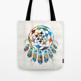 Native American Colorful Dream Catcher by Sharon Cummings Tote Bag
