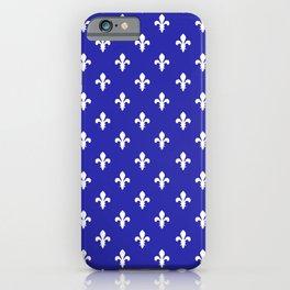Fleur-de-Lis (White & Navy Blue Pattern) iPhone Case