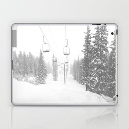 Empty Chairlift // Alone on the Mountain at Copper Whiteout Conditions Foggy Snowfall Laptop & iPad Skin