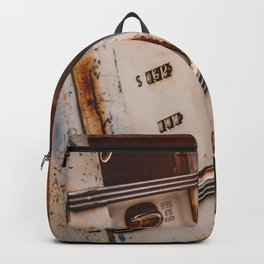 Old american abandoned gas station Backpack