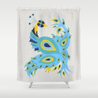 peacock Shower Curtains featuring Peacock by Cat Coquillette